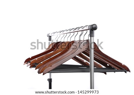 wooden clothes hangers isolated on a white background