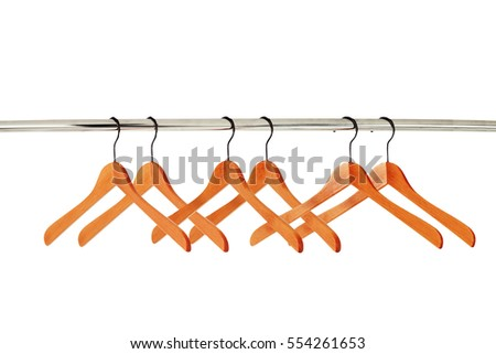 wooden clothes hangers isolated on white