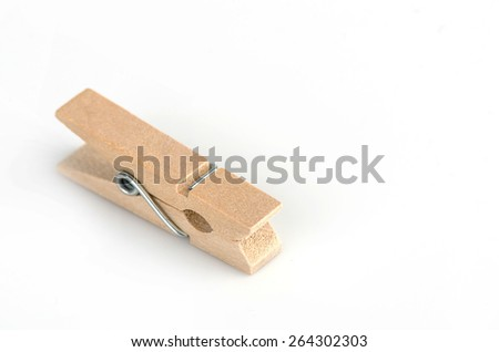 Wooden clothespin isolate on white background.