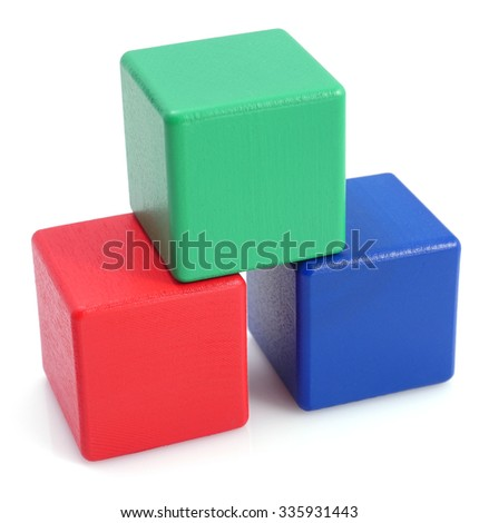 Wooden colored cubes tower toys.