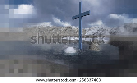 Wooden cross in winter made in 3d software