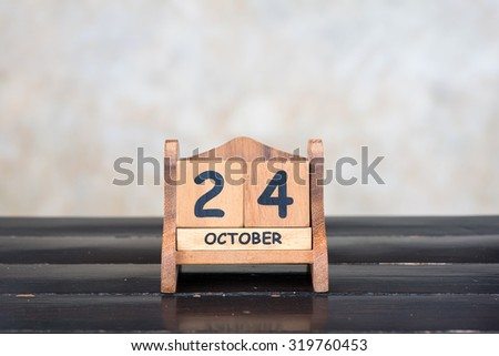 Wooden cube calendar for 24th October
