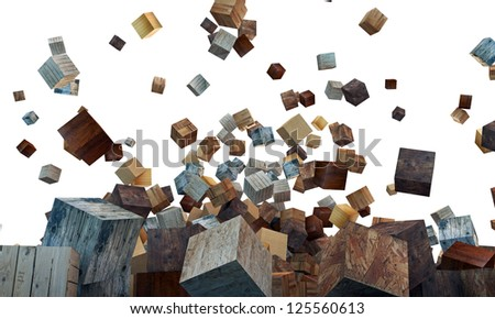 wooden cubes isolated on white background
