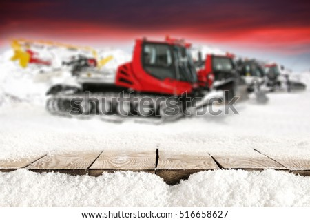 wooden desk of free space for your decoration of text or product and snow plow