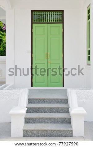 wooden door step