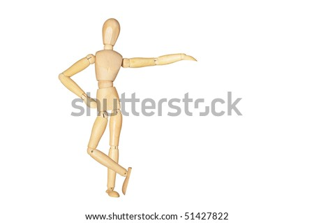 Wooden figure posed as if leaning on something. Room for text or objects to be inserted.