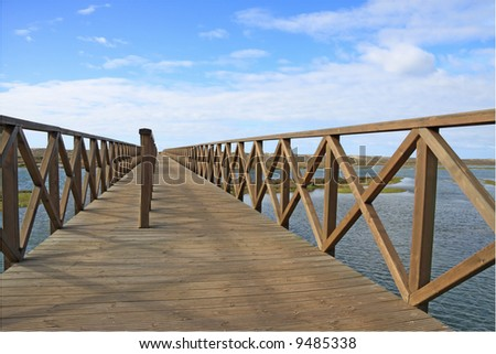 Wooden footbridge over the water near the beach