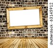 wooden frame on the stone wall - stock photo