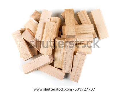 Wooden game blocks isolated on white background