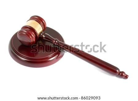 Wooden gavel isolated on white background
