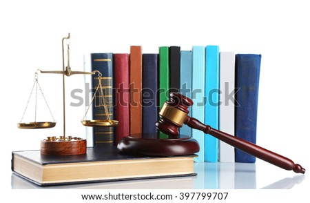 Wooden gavel with justice scales and stack of books, isolated on white