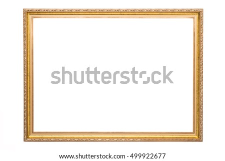 wooden gold frame on white background