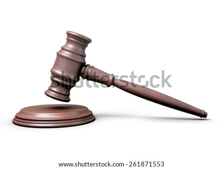 Wooden hammer of the judge isolated on white background. 3d illustration.