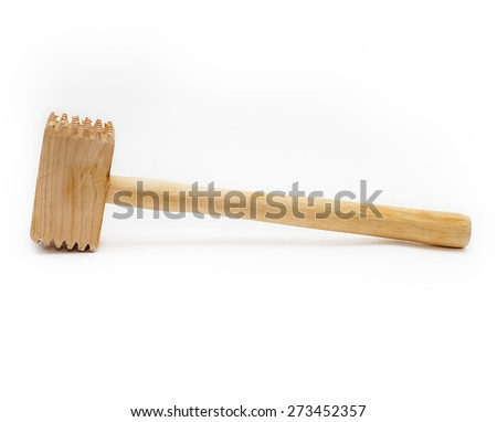 Wooden hammer to chop meat on a white background