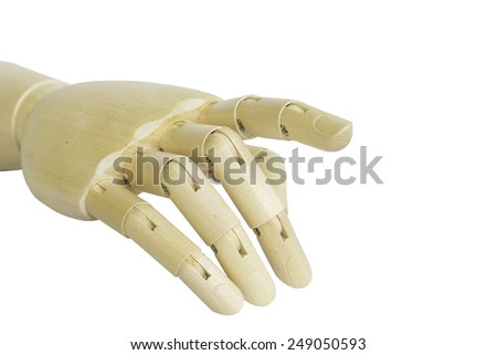Wooden hand model isolated on white background