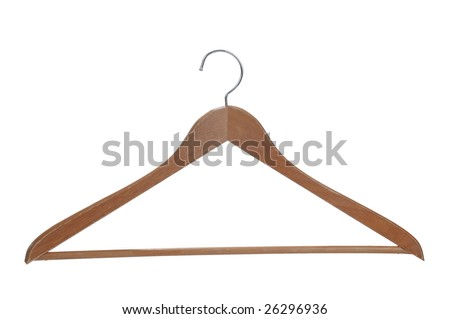 Wooden hanger isolated over a white background with a clipping path