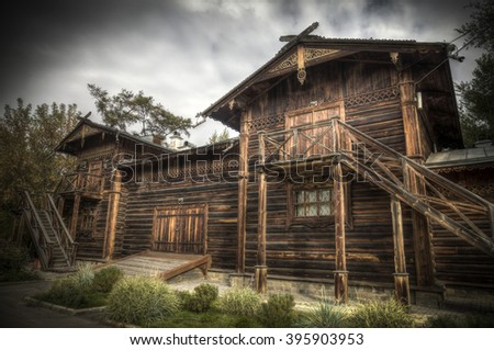wooden house is in the woods. Irkutsk, Russia