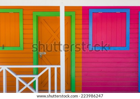 Wooden houses painted in Caribbean colors
