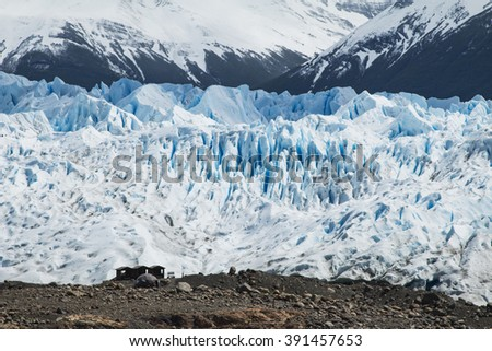Wooden hut next to the Perito Moreno Glacier in Argentina