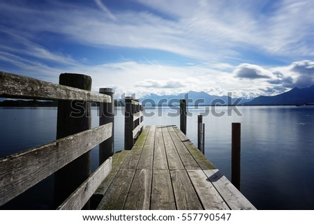 wooden jetty, lake chiemsee, bavaria, germany, europe