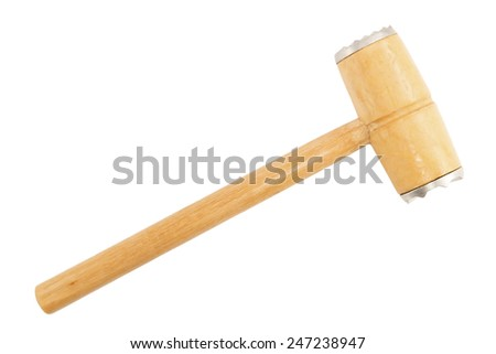 Wooden kitchen hammer isolated on white