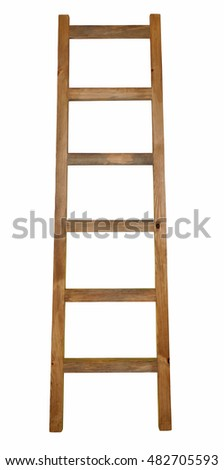 wooden ladder isolated on white