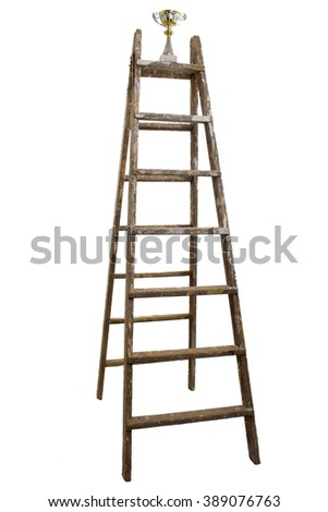 Wooden ladder with a trophy on the top, isolated on white background