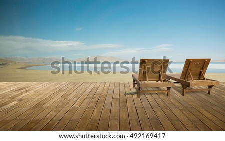 Wooden lounge - Sundeck on landscapes view for vacation