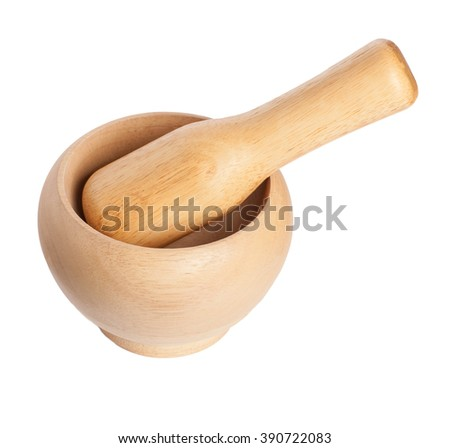 wooden mortar with pestle isolated on white background