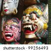 Wooden painted balinese masks - stock photo