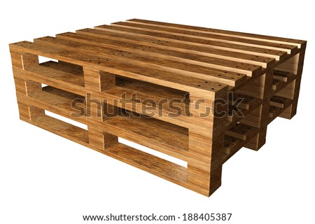 Wooden pallets. Isolated on white background. 3d
