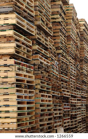 Wooden pallets stacked as far as the eye can see