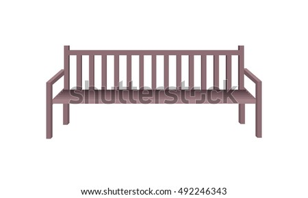 Wooden park bench. Brown wooden bench icon. One isolated outdoor bench. City object in flat. Simple drawing. Isolated  illustration on white background.