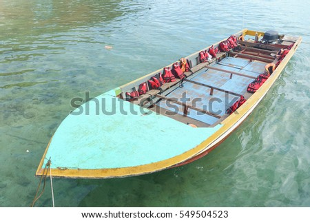 Wooden passenger boat at the sea in Sabah Malaysia Borneo.