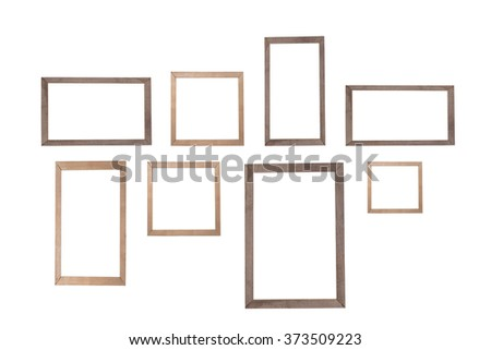 wooden photo frame isolated white background