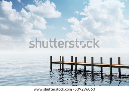 Wooden Pier in the middle of the Beautiful Ocean Scenery. 3D Rendering