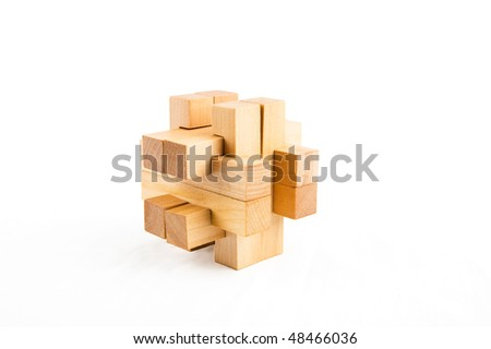 Wooden  puzzle. Isolated on white background