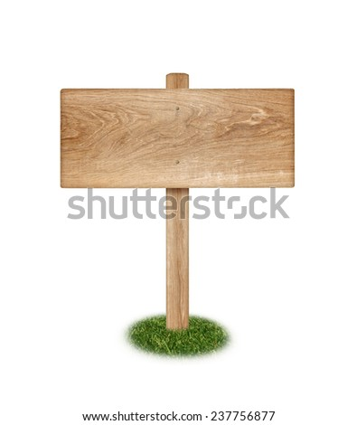 Wooden sign on grass isolated on white background