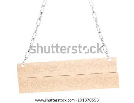 Wooden signboard isolated on white