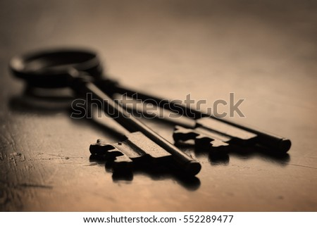 Wooden surface with keys to unlock