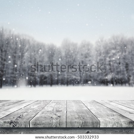 Wooden Table Over Winter Snow Covered Forest Beauty Nature Background