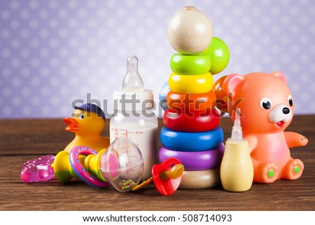 Wooden Toys collection on colorful background