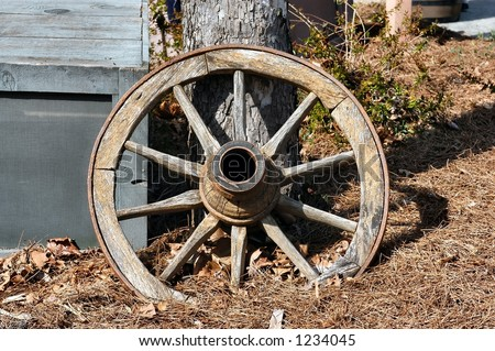 Wooden Wagon Wheel leaning on a post