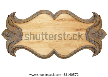 wooden wall panel with a metal frame. with clipping path.