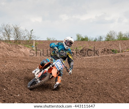 Worcester,UK-April 24 2016 :A competitor taking part in a Motocross race.Motocross is an extreme sport in many countries around the world. This was a free event with no photography restrictions.