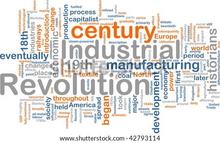 Word cloud concept illustration of industrial revolution