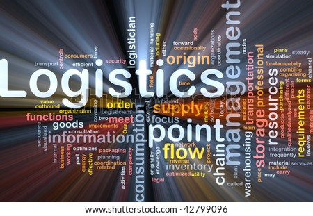 Word cloud concept illustration of logistics management glowing light effect
