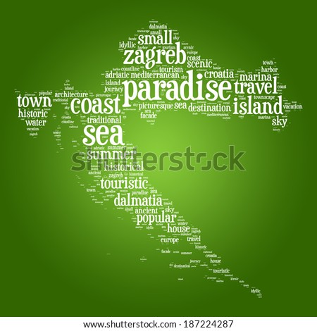 Word cloud concept of map of Republic of Croatia on gradient green background