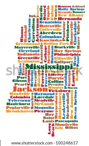 word cloud map of Mississippi state