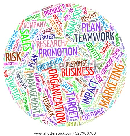Word cloud of marketing concept in globe shape